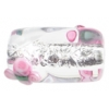 Glass Lamp Bead 18x10mm Crystal/Silver With 2 Pink Flower